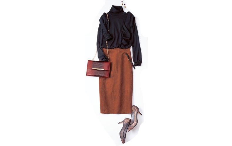 【2】黒ニット×GUのキャメルタイトスカート×黒カーディガン