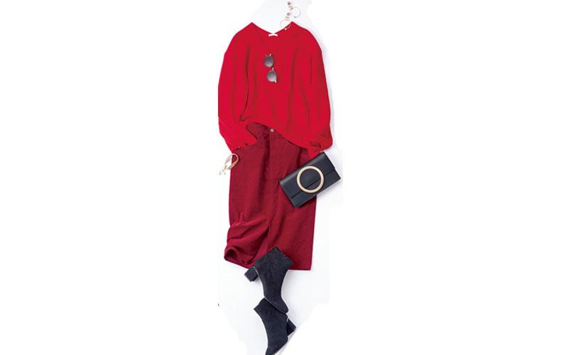 【3】赤ニット×赤スカートのGUコーデ