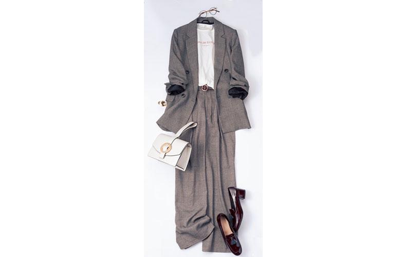 【3】グレンチェックのジャケット&ワイドパンツのGUコーデ