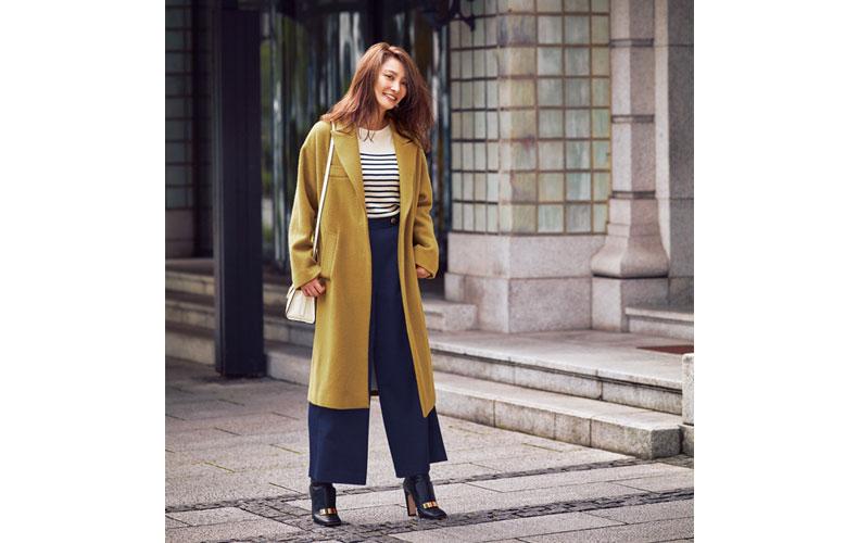 【2】ボーダーカットソー×ネイビーワイドパンツ×黄色コート