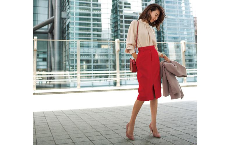 【8】赤タイトスカート×モーブピンクコーデ