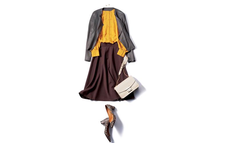 【1】黄色のブラウス×スカート×茶のレザージャケット