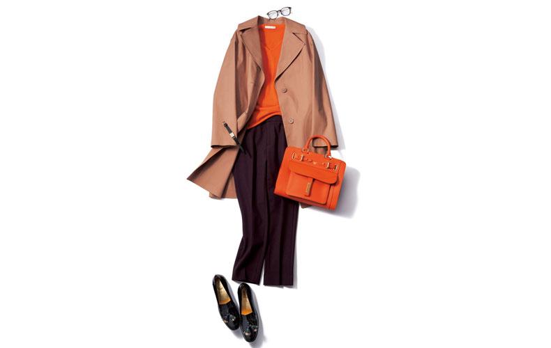 【10】オレンジニット×茶色パンツ×茶色コート