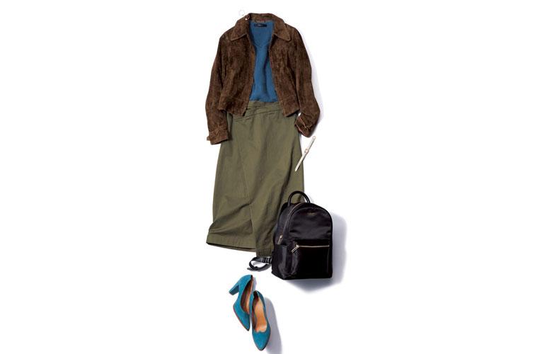 【3】青ニット×カーキスカート×ブラウンジャケット