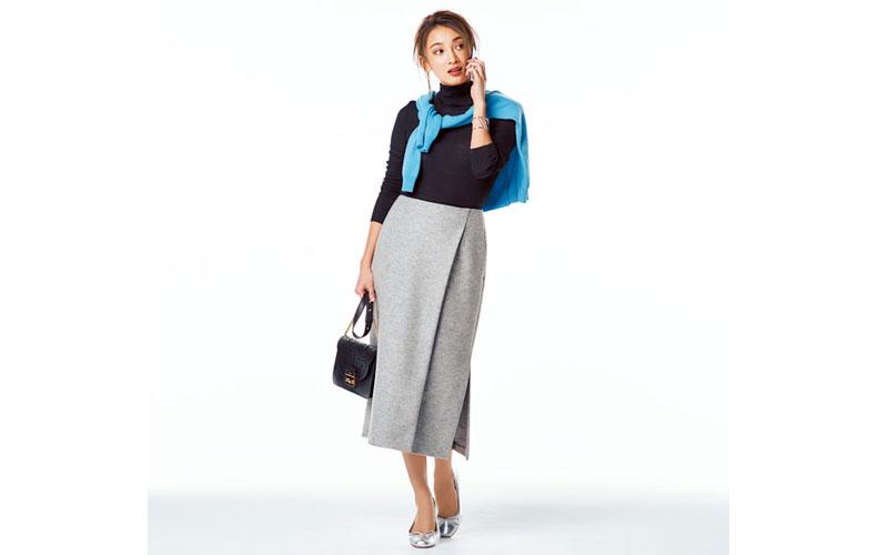 【7】水色カーディガン×黒ニット×グレースカート
