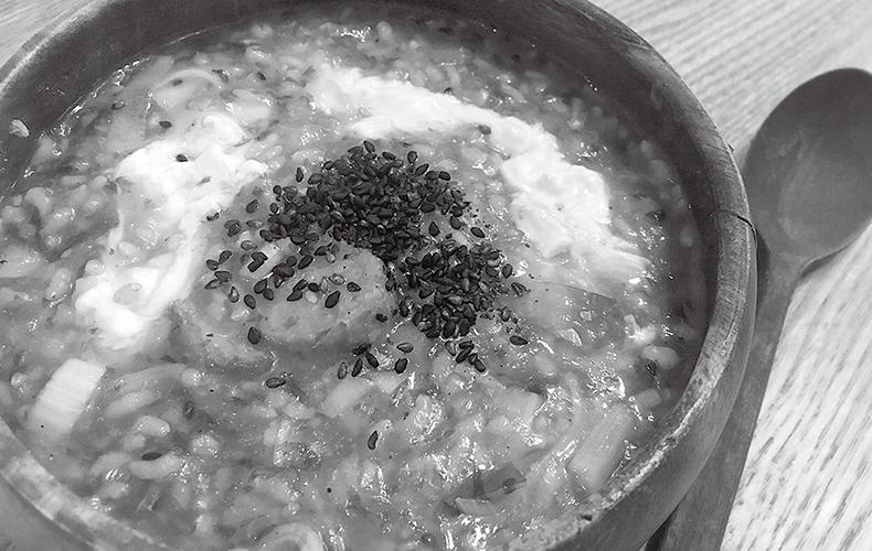 大根と生姜のおじやスープ