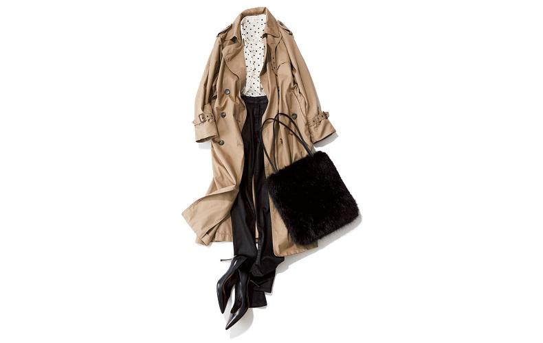 【3】白ブラウス×トレンチコート×黒パンツ