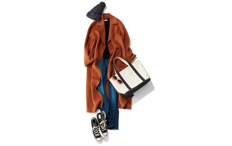 【5】茶色コート×黒ニット×デニムパンツ×グレーニット帽