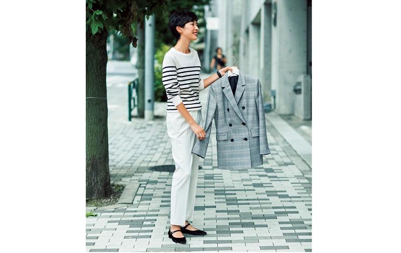 【2】ボーダートップス×白パンツの冬マリンスタイル