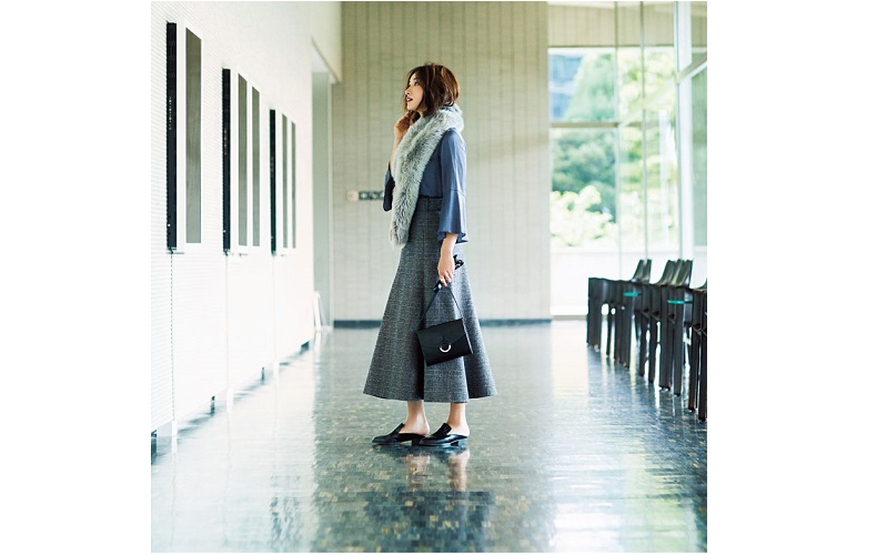 【3】チェックフレアスカート×スヌード×青ブラウス