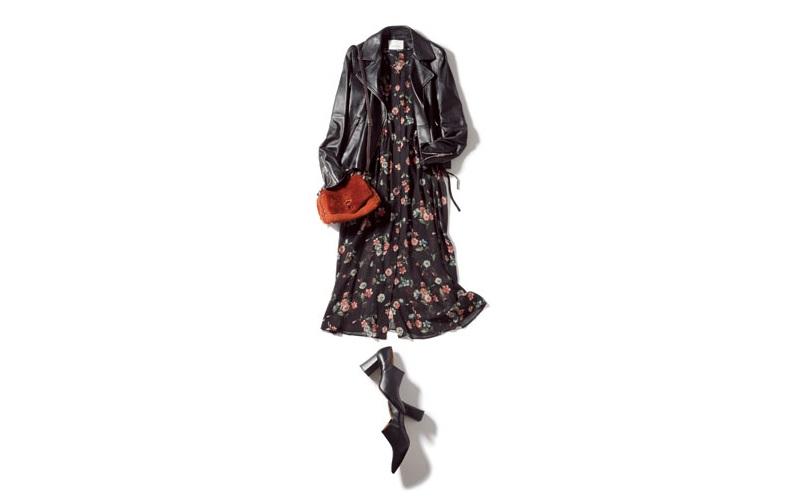 【4】黒ジャケット×花柄黒シャツワンピース