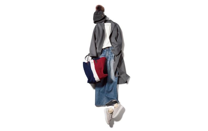 【5】コート×カットソー×デニムパンツ×ニット帽
