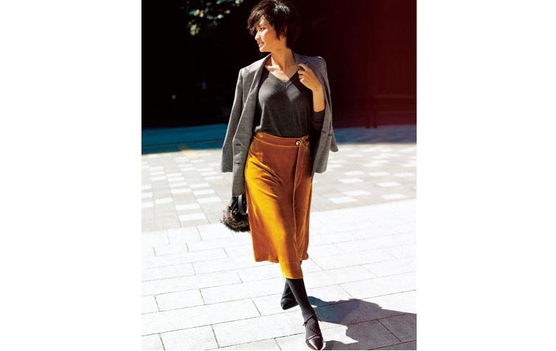 【7】Vネックグレーニット×黄色スカート×チェックジャケット