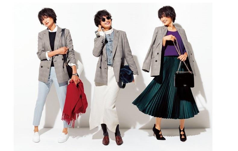 【8】チェック柄ジャケット×紫ニット×グリーンプリーツスカート
