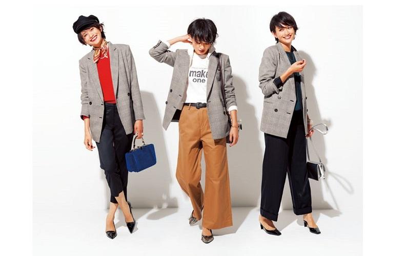 【1】パンツ×赤ニット×グレーのチェックジャケット