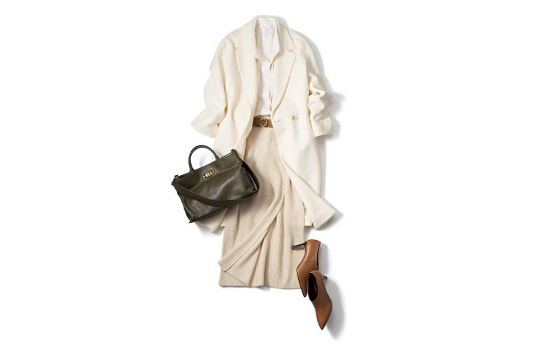 【2】アウター×シャツ×タイトスカートの白コーデ
