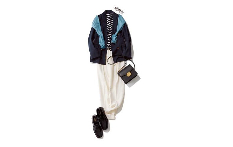【3】ネイビージャケット×ボーダーカットソー×白パンツ×カジュアルな革靴