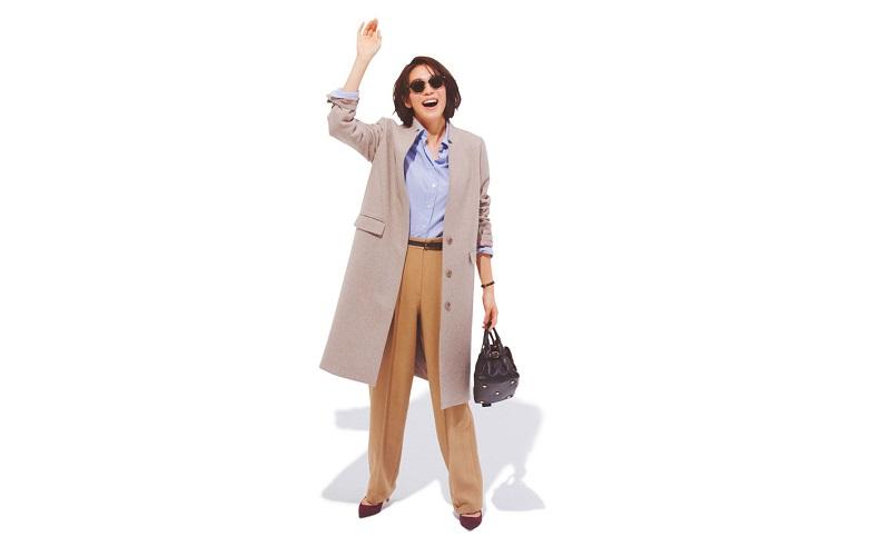【6】コート×シャツ×パンツのオフィススタイル