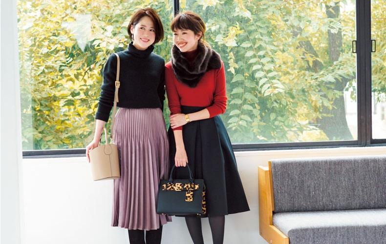【3】変形プリーツスカート×黒タートル