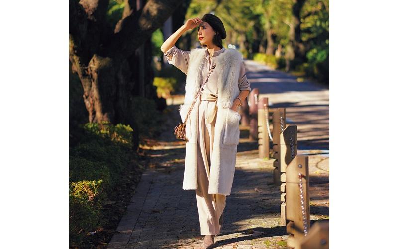 【6】白ジレ×ピンクワイドパンツ×ピンクブラウス