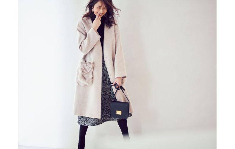 【4】ノーカラーコート×ツイードスカート