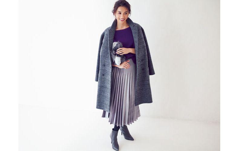【10】チェックコート×紫ニット×紫プリーツスカート