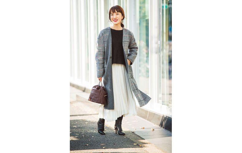 【4】グレンチェックコート×プリーツスカート