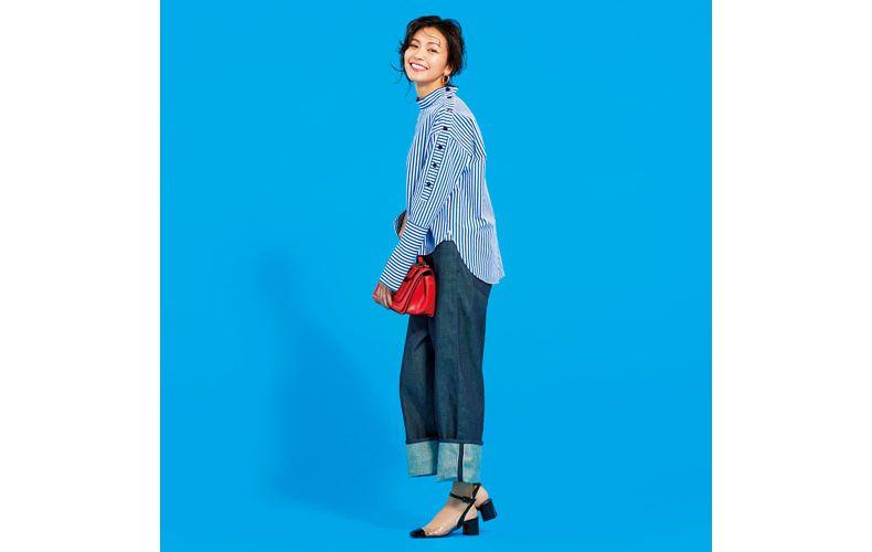 【3】青ストライプシャツ×デニムワイドパンツ