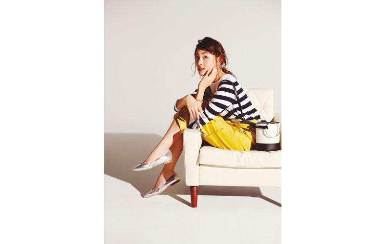 【6】ボーダーニット×黄色ロングスカート×シルバーぺたんこ靴