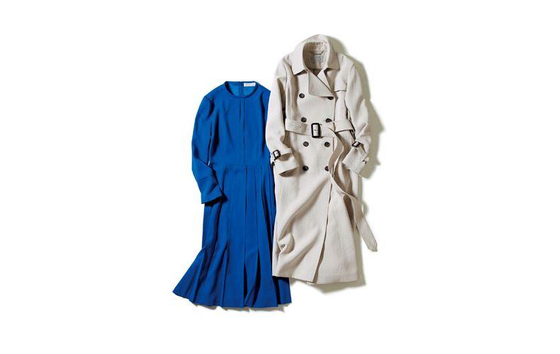 【5】ブルーのワンピース×ベージュのトレンチコート
