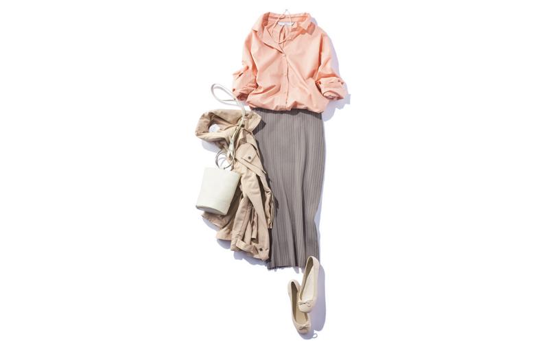 【7】グレータイトスカート×淡いピンクシャツ
