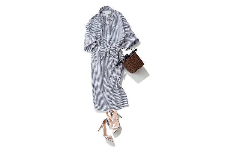 【8】ネイビーストライプシャツ&スカートのセットアップコーデ