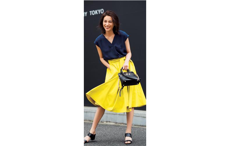 【8】Vネック青ブラウス×黄色スカート×サンダル