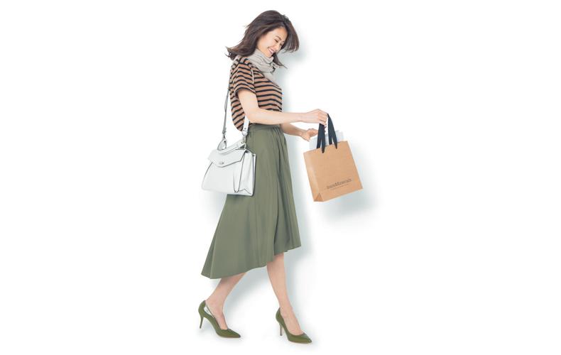 【7】カーキフレアスカート×GUのTシャツ