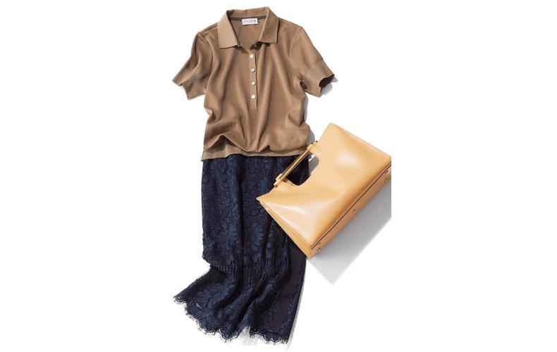 【5】ネイビーレーススカート×茶ポロシャツの通勤コーデ