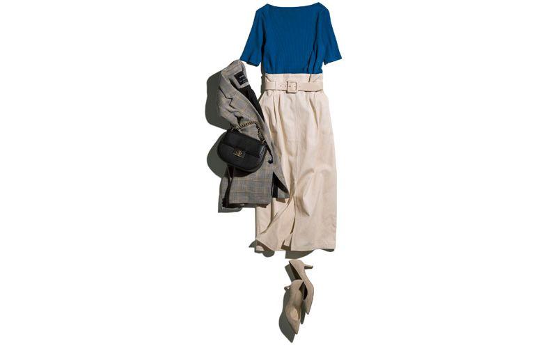 【4】白ロングスカート×ブルーのリブTシャツ