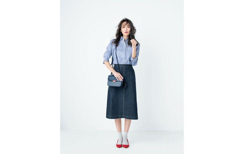 【6】ストライプ青シャツ×デニムスカート