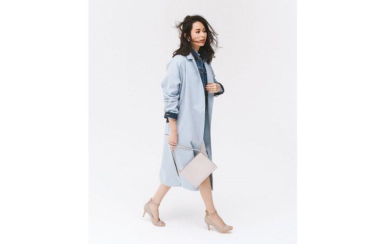 【5】ブルーのコート×Gジャン×スカート