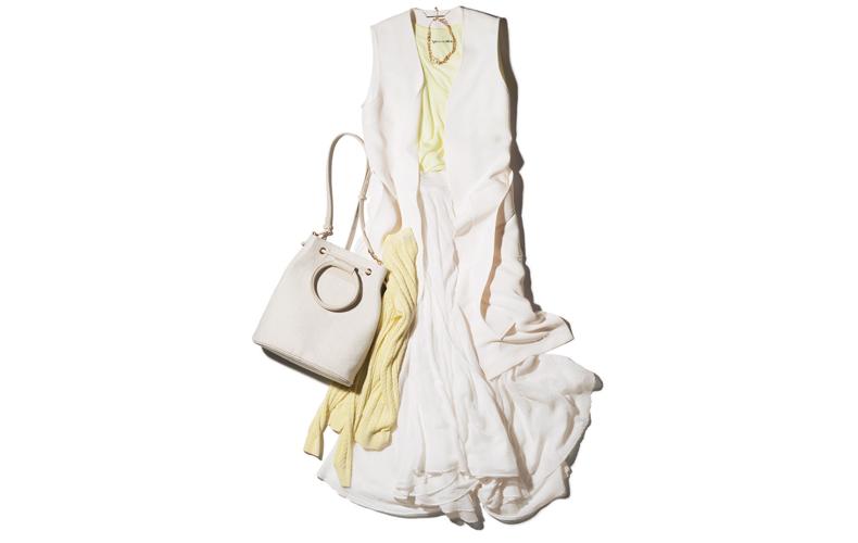 【1】白ジレ×黄色タンクトップ×白ロングスカート