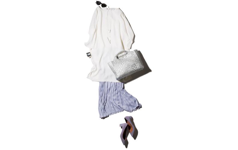 【5】白ワンピース×パープルロングスカート×パープルパンプス
