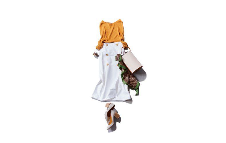 【2】黄色ニット×パンプス×白ロングスカート