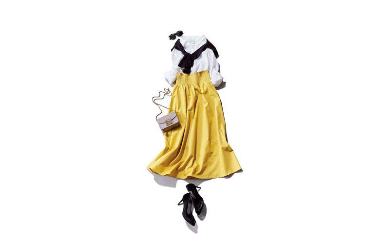 【5】白シャツ×GUの黄色ロングスカート