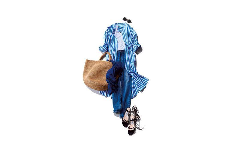 【3】ストライプシャツワンピース×デニムパンツ×トートバッグ