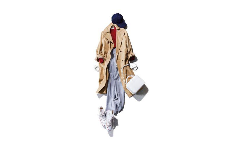 【6】赤ニット×グレーパンツ×白スニーカー×GUのコート