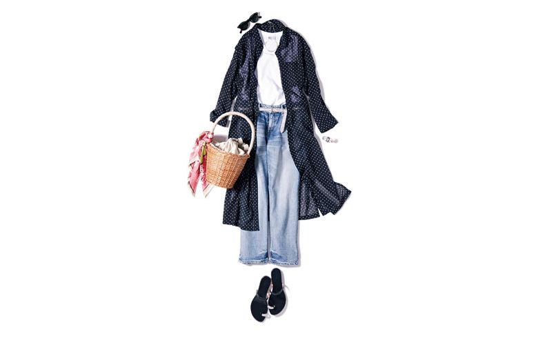 【9】ドットシャツ×デニムパンツ×ユニクロの白タンクトップ