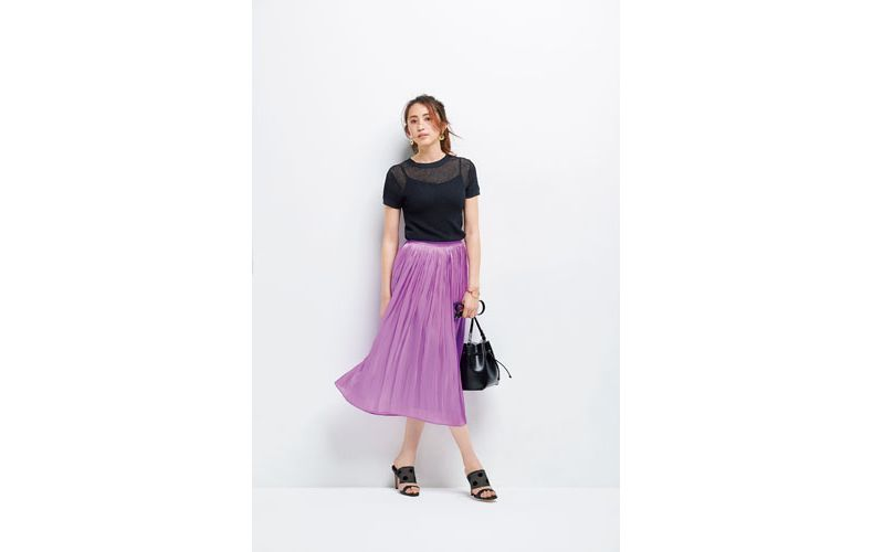 【10】紫プリーツスカート×半袖黒ニット