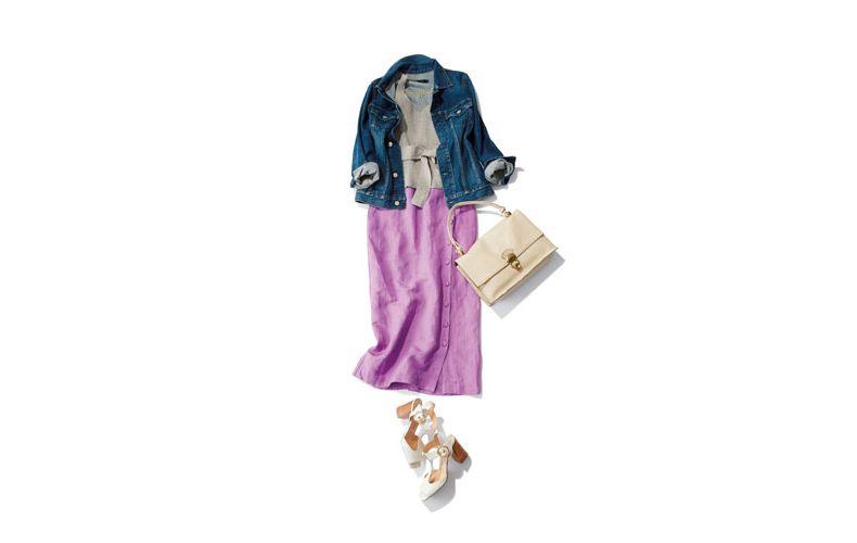 【3】デニムジャケット×ベージュニット×ラベンダースカート
