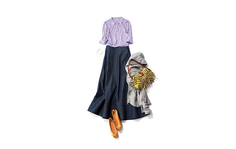 【5】ラベンダーポロシャツ×デニムロングスカート×グレーパーカー