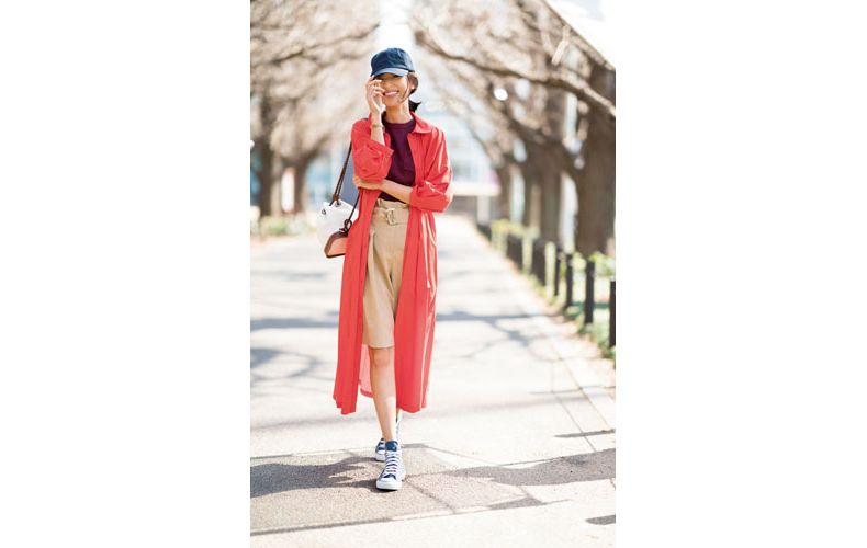 【6】ボルドーカットソー×ショートパンツ×オレンジシャツワンピース