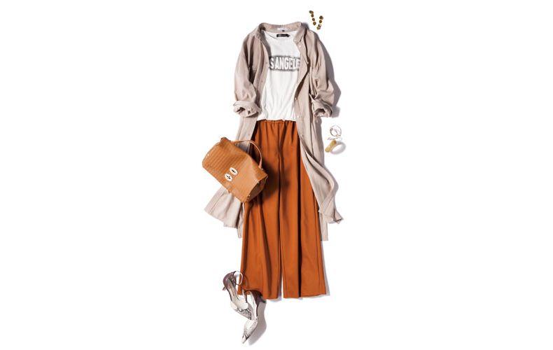 【1】ベージュシャツワンピース×白Tシャツ×ベージュワイドパンツ